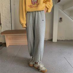 KUMI - Gray Fleece-Lined Cuff Sweatpants