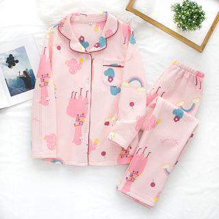 Dogini - Pajama Set: Cartoon Print Shirt + Pants
