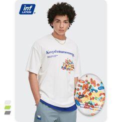Newin - 创意药丸印花撞色宽松短袖T恤