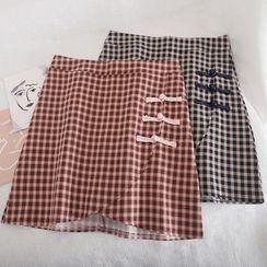Pinatra - 盤扣格子迷你鉛筆裙