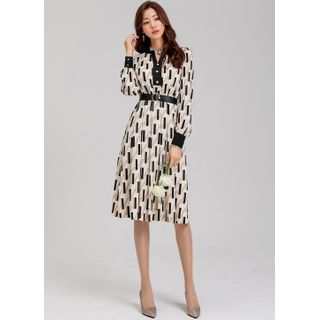 Styleonme - Belted Faux-Pearl Patterned Midi Flare Dress