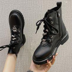 Yuki Yoru - Faux Leather Lace-Up Short Boots