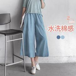 OrangeBear - 水洗棉質面料牛仔鬆緊寬版褲