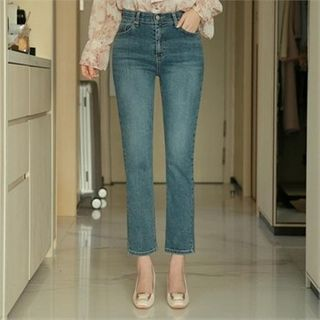 Styleberry - Washed Straight-Cut Jeans