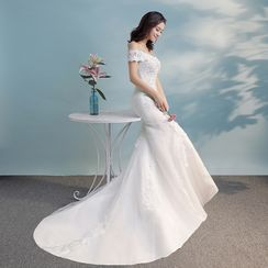 Charmeuse - Off Shoulder Embroidered Mermaid Wedding Gown