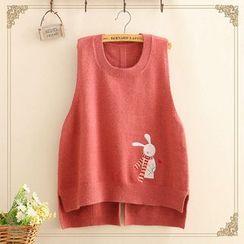 Kawaii Fairyland - Rabbit Embroidered Dip-Back Knit Vest