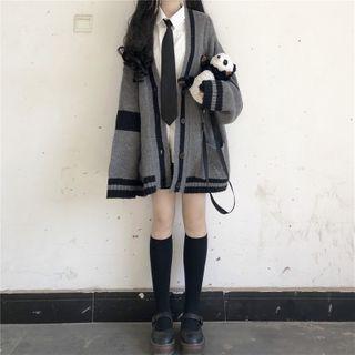 Sisyphi(シシピ) - Contrast Trim Cardigan / Plain Shirt / Mini A-Line Skirt