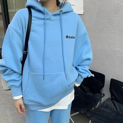 Gaika - 长袖刺绣连帽衫/纯色慢跑裤运动裤