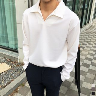 Seoul Homme - Open-Placket Polo Shirt