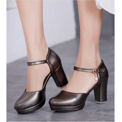 Freesia(フリージア) - Faux Leather Chunky-Heel Platform Sandals