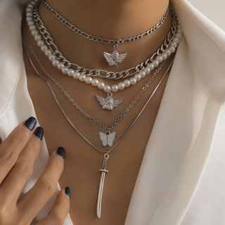 Seirios - Set of 5: Layered Faux Pearl Chain Necklace