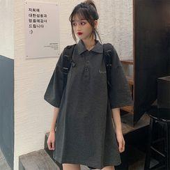 Sharis - Elbow-Sleeve Polo Mini T-Shirt Dress