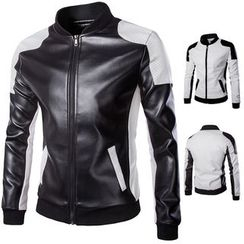 YIKES - Two-Tone Faux Leather Bomber Jacket