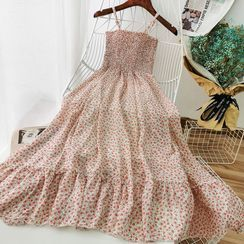 Miss Puff - Floral Strappy Midi A-Line Dress