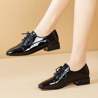 Shoes Galore(シューズガロア) - Lace-Up Low-Heel Oxford Shoes
