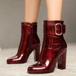 Megan - Chunky Heel Buckled Short Boots
