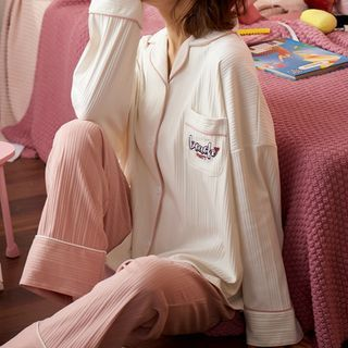 Jeony - 家居服套装: 印花长袖上衣 + 长裤