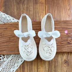 Daminsky - Crochet Panel Bow Mary Jane Flats