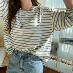 NANING9(ナンニング) - Loose-Fit Stripe T-Shirt