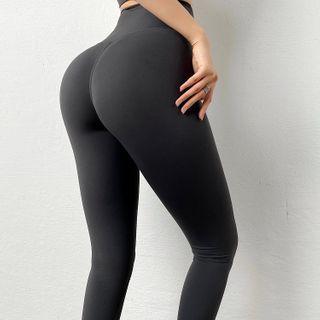 Peachgirl - High-Waist Plain Sports Leggings in 6 Colors