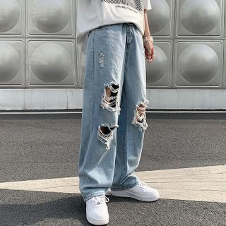 Mr. Right - Distressed Wide-Leg Jeans