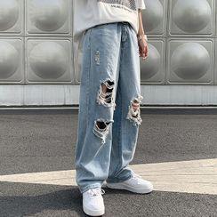 Mr. Right - 做舊寬腿牛仔褲