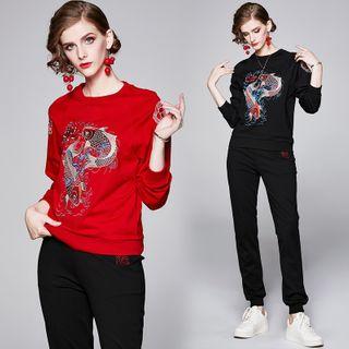 Yonna - Set: Fish Embroidery Sweatshirt + Sweatpants