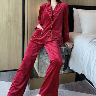 Almilo - Pajama Set: Contrast Trim Velvet Shirt + Pants