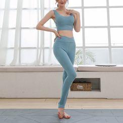 wildhane - 套装: 纯色运动文胸 + 踩脚瑜伽裤
