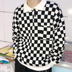 Freehop - Long-Sleeve Plaid Polo Shirt