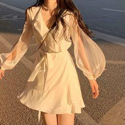 Golwheat - Long-Sleeve Ruffle Mini A-Line Dress