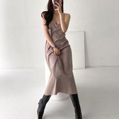 Seoul Fashion - Silky-Touch Midi Slipdress