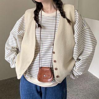 ZENME - Striped Sweatshirt / Buttoned Vest / Straight Leg Jeans