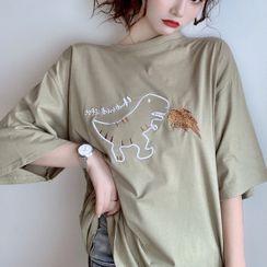 IndiGirl - Short Sleeve Embroidered T-Shirt