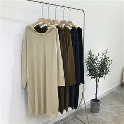 YUNBO - Plain Midi Knit Hoodie Dress