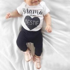 Kissy Kiddos - Kids Short-Sleeve Lettering Playsuit