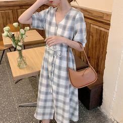 Beauteau - 短袖格紋A字連衣中裙