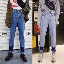Tanee - Color-Block Slim-Fit Jeans