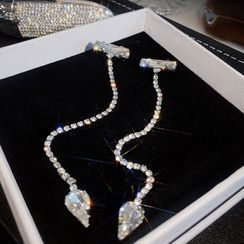 True Glam - Rhinestone Chained Earring