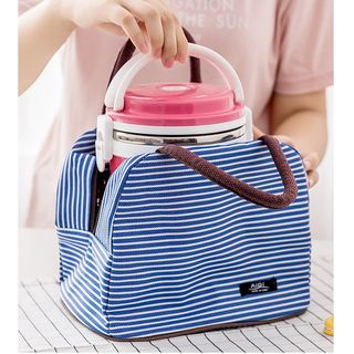 School Time - Striped Insulated Lunch Bag