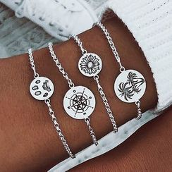 Mulyork - Set of 4: Alloy Bracelet (assorted designs)