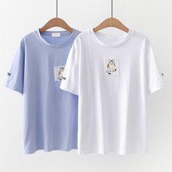 Cat Planet - 贴布绣短袖T裇