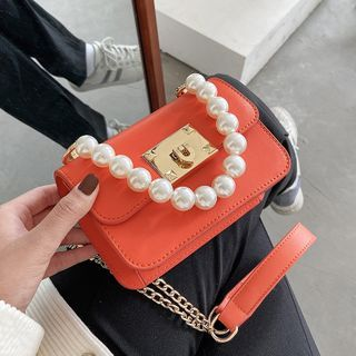 Skyglow - Faux Pearl Top Handle Chain Crossbody Bag