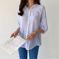 PIPPIN - Puff-Sleeve Stripe Sheer Shirt
