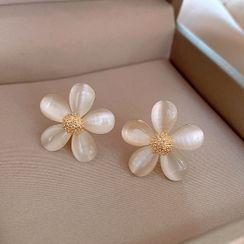 True Glam - Cat Eye Stone Flower Earring