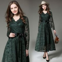 Staria - Lace Long Sleeve Midi Dress