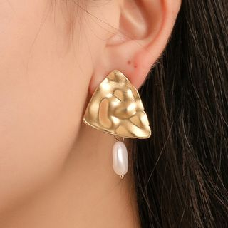 Mulyork - 合金三角仿珍珠耳坠