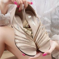 KONIN - Block-Heel Glittering Strap Sandals
