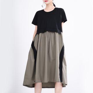 Ultra Modern - Mock Two-Piece Short-Sleeve Midi Shift Dress