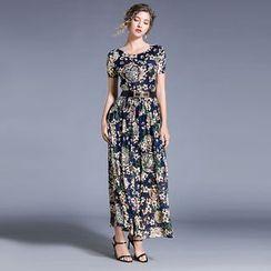 Justina - Lace Short-Sleeve Midi A-Line Dress